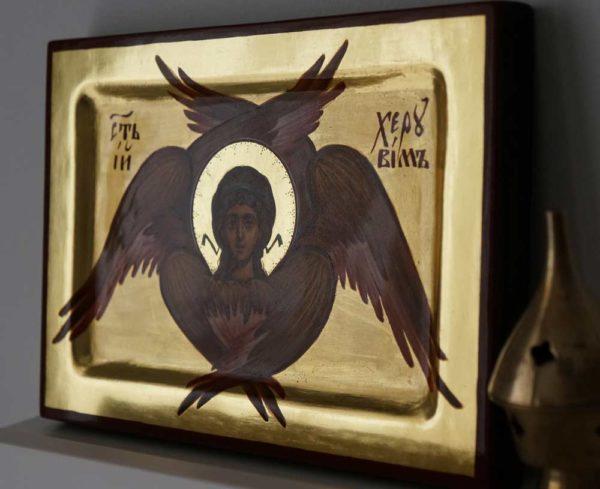 Cherub Hand Painted Byzantine Orthodox Icon with Polished Gold on Wood