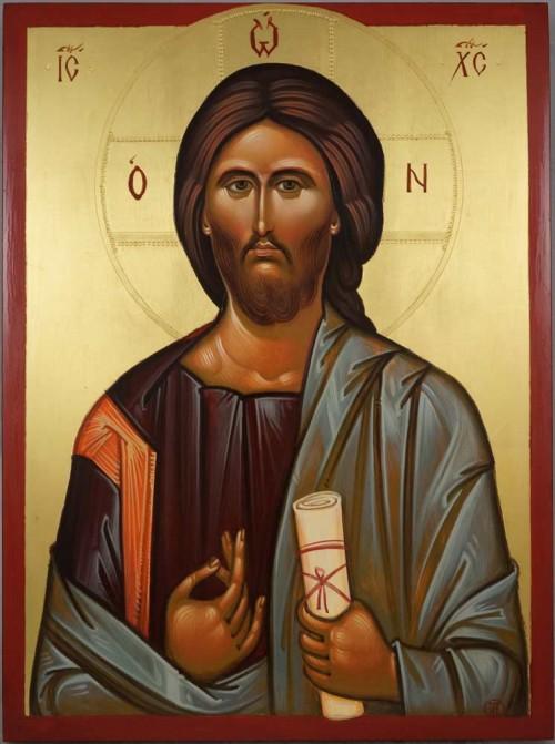 Christ Pantocrator Vatopedi Monastery Hand Painted Byzantine Orthodox Icon