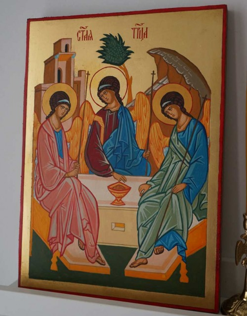 Holy Trinity Rublev Hand Painted Orthodox Icon on Wood