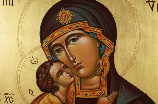 Mother of God Sweet Kissing Hand Painted Byzantine Orthodox Icon on Wood