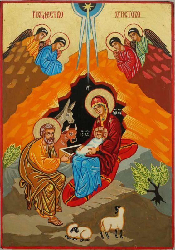 Nativity of Christ Hand Painted Icon Byzantine Orthodox on Wood