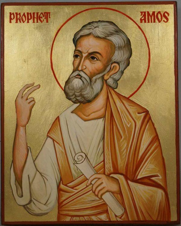 Prophet Amos Hand Painted Orthodox Icon on Wood