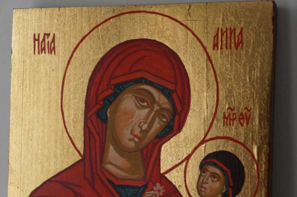 Saint Anna and Mary small Hand Painted Byzantine Icon
