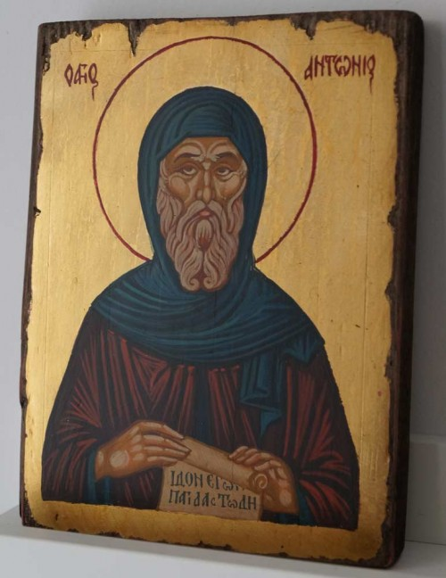 Saint Anthony of Egypt Small Hand Painted Orthodox Icon