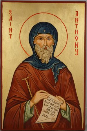 Saint Anthony the Great Icon Hand Painted On Wood