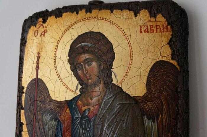 Saint Archangel Gabriel full body Hand Painted Byzantine Icon on Antique Wood