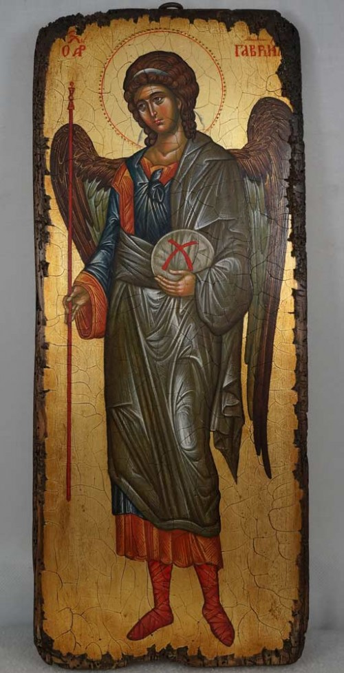 Saint Archangel Gabriel full body Hand Painted Byzantine Icon on Antique Wood