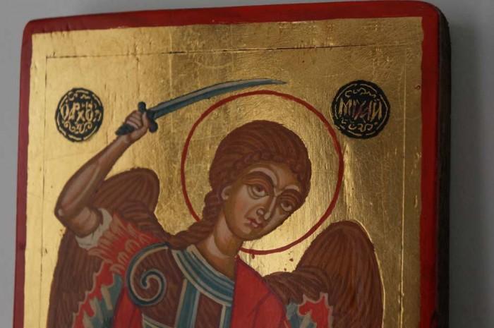 Saint Archangel Michael Antique Hand Painted Byzantine Icon on Wood