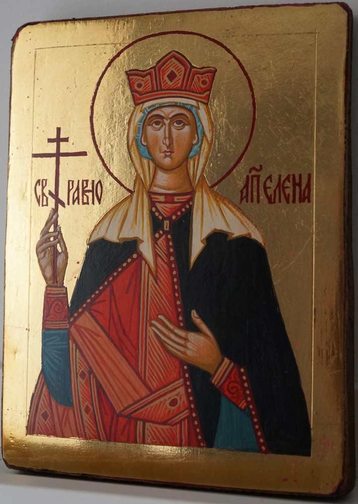 Saint Helen Helena Small Hand Painted Orthodox Icon on Wood