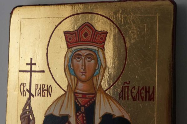 Saint Helen Helena Small Hand Painted Orthodox Icon on Wood