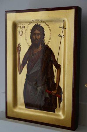 Saint John the Forerunner Baptist Hand Painted Byzantine Icon Raised Border