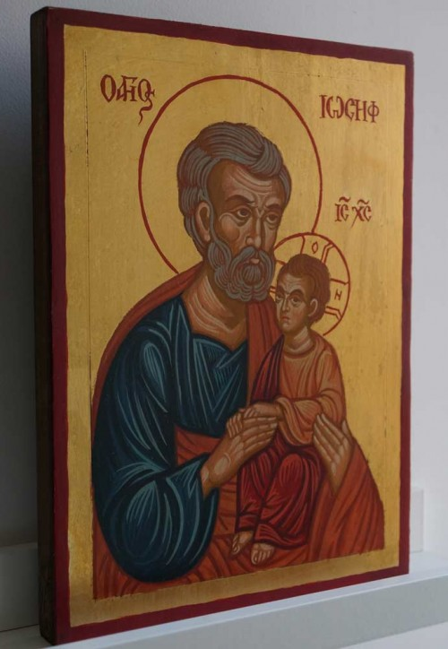 Saint Joseph Hand Painted Greek Orthodox Icon on Wood