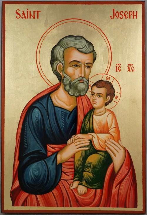 Saint Joseph Large Hand Painted Orthodox Icon on Wood