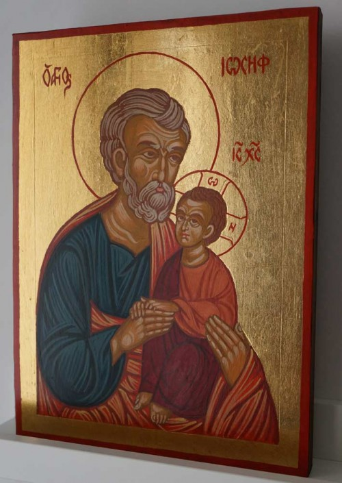 Saint Joseph and Child Jesus Hand Painted Orthodox Icon on Wood