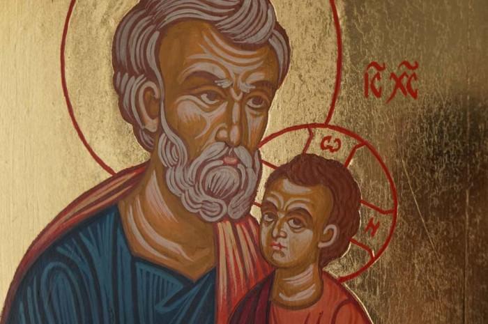 Saint Joseph and Child Jesus Hand Painted Orthodox Icon on Wood