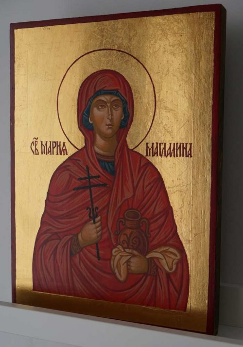 Saint Mary Magdalene Hand Painted Byzantine Icon on Wood
