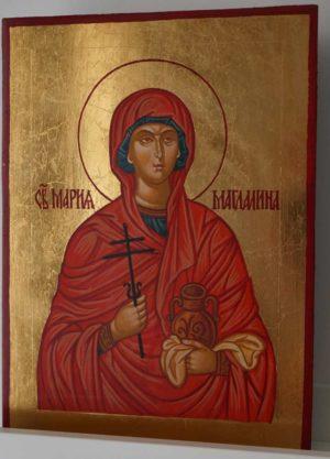 Saint Mary Magdalene Hand Painted Byzantine Icon on Wood