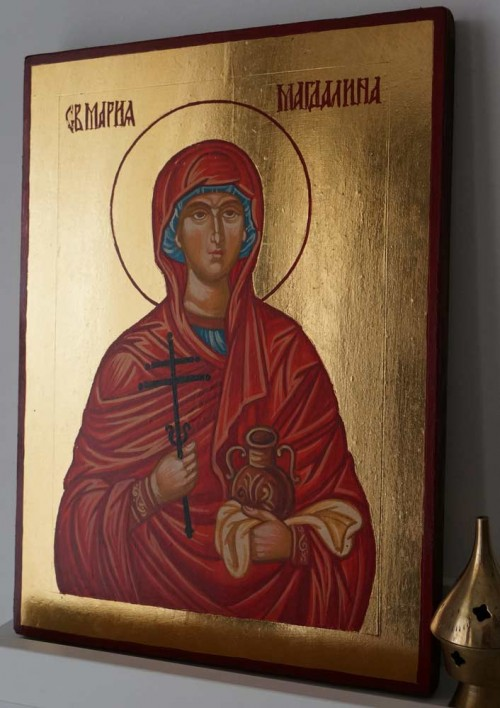 Saint Mary Magdalene Hand Painted Byzantine Orthodox Icon on Wood