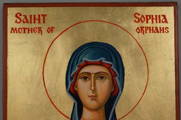 Saint Sophia Mother of Orphans Hand Painted Icon on Wood