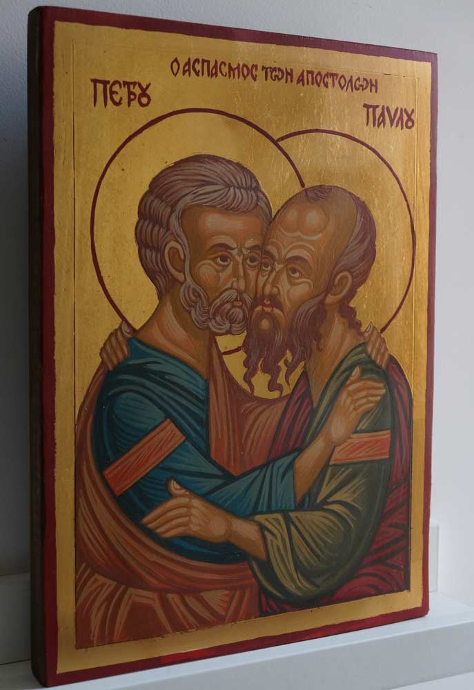 Saints Peter and Paul Hand Painted Byzantine Orthodox Icon on Wood
