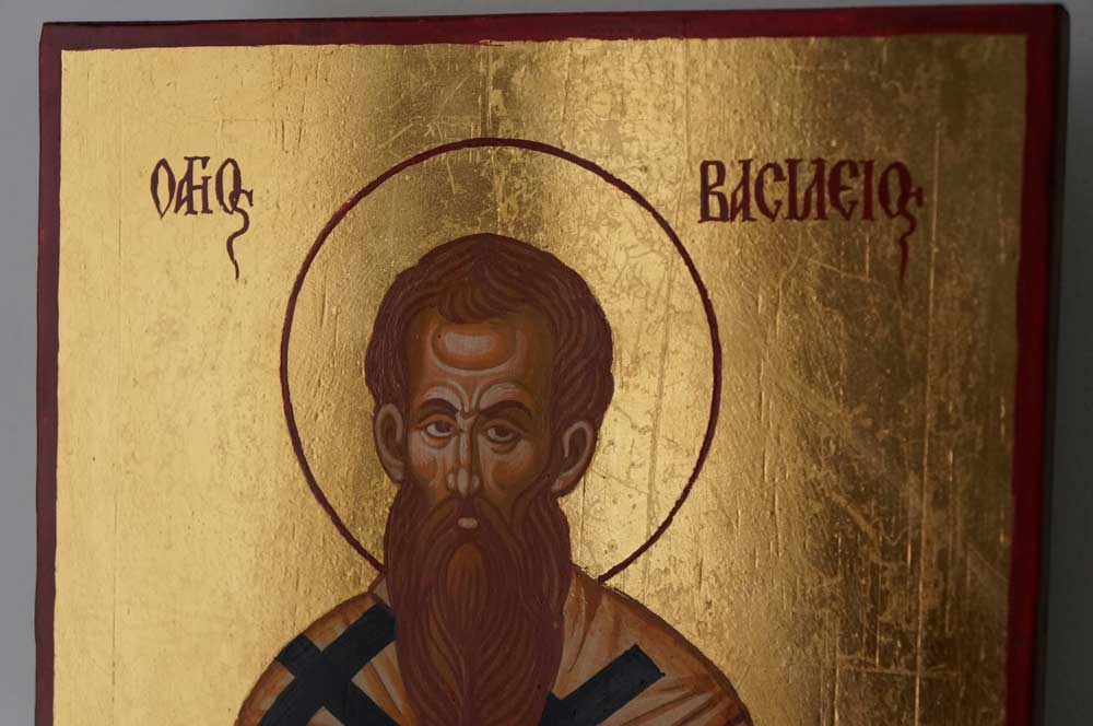 St Basil the Great Hand Painted Orthodox Icon on Wood