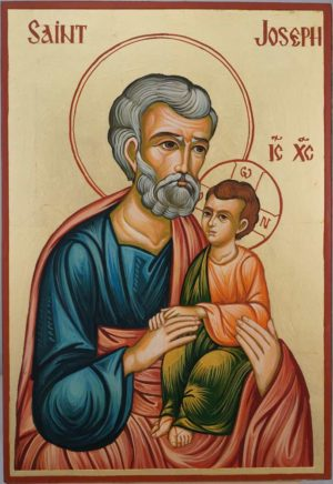 St Joseph and Child Jesus Large Hand Painted Orthodox Icon