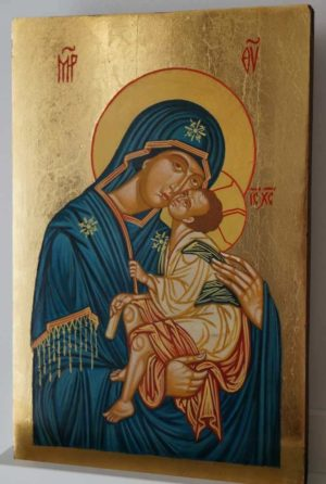 Theotokos Eleusa Sweet Kissing Hand Painted Byzantine Icon