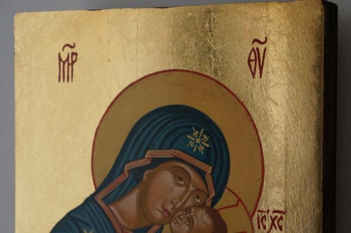 Theotokos Eleusa Sweet Kissing Hand Painted Byzantine Icon