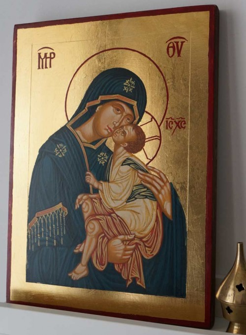 Theotokos Eleusa Sweet Kissing Hand Painted Orthodox Icon