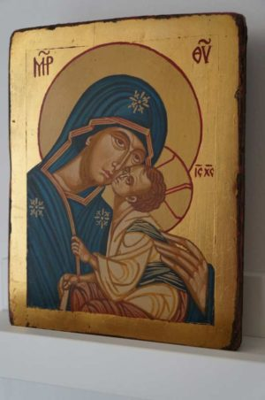 Theotokos Eleusa Sweet Kissing Small Hand Painted Orthodox Icon