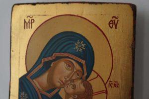 Theotokos Eleusa Sweet Kissing Small Hand Painted Orthodox Icon