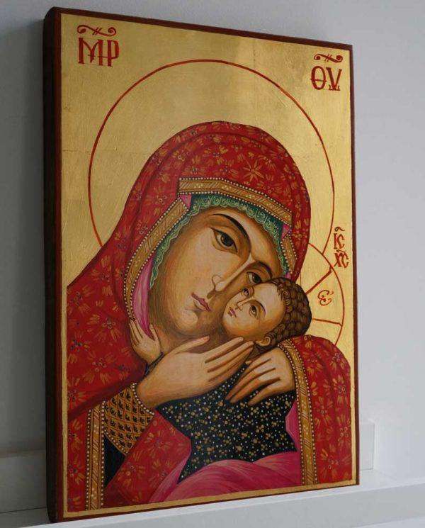 Theotokos Eleusa Virgin Mary Sweet Kissing Hand Painted Orthodox Icon on Wood