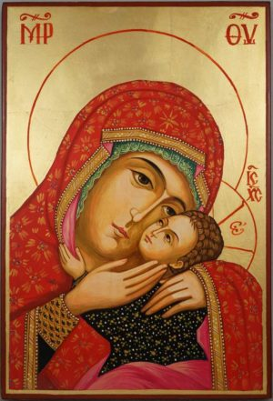 Theotokos Eleusa Virgin Mary Sweet Kissing Hand Painted Orthodox Icon on Wood