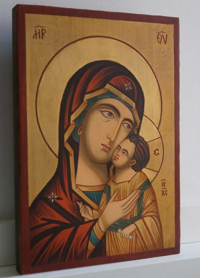 Theotokos Sweet Kissing small Hand Painted Byzantine Icon on Wood