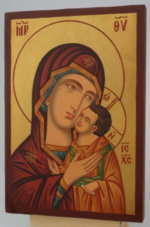 Theotokos Sweet Kissing small Icon Hand Painted Byzantine Orthodox