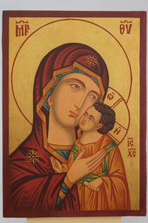 Theotokos Sweet Kissing small Icon Hand Painted Byzantine Orthodox