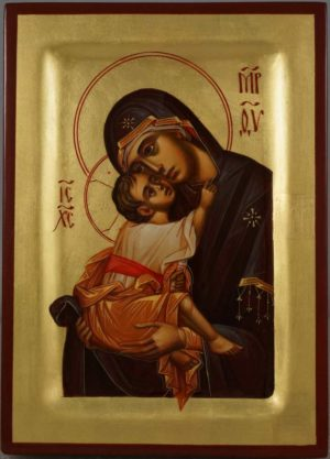 Theotokos Sweet Loving Hand Painted Byzantine Icon on Wood