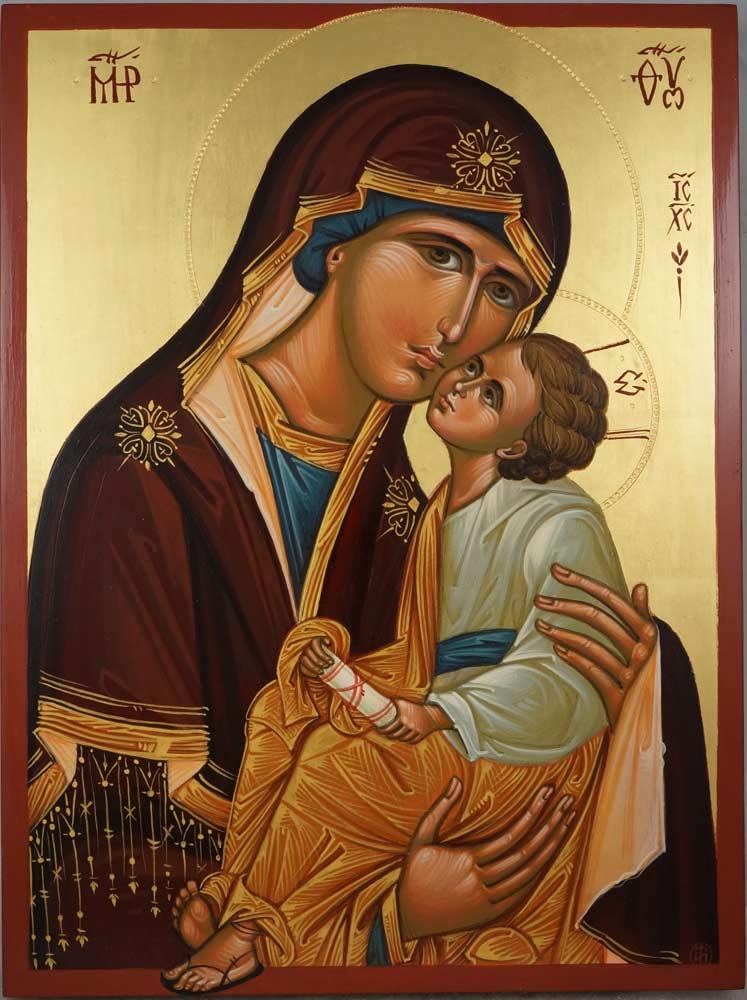 Theotokos Sweet Loving Hand Painted Byzantine Orthodox Icon on Wood