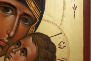 Theotokos Sweet Loving Hand Painted Byzantine Orthodox Icon on Wood