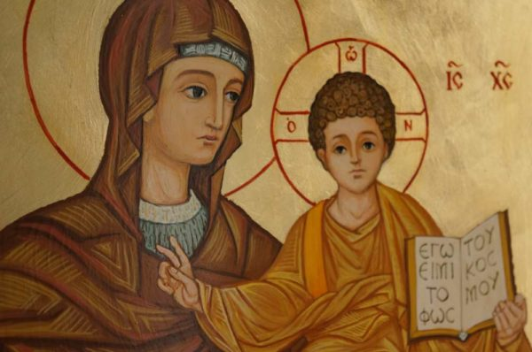 Theotokos and Christ Hand Painted Icon Based on Mosaic apse of the Dormition Abbey in Jerusalem