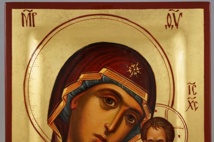 Theotokos of Kazan Hand Painted Byzantine Orthodox Icon on Wood