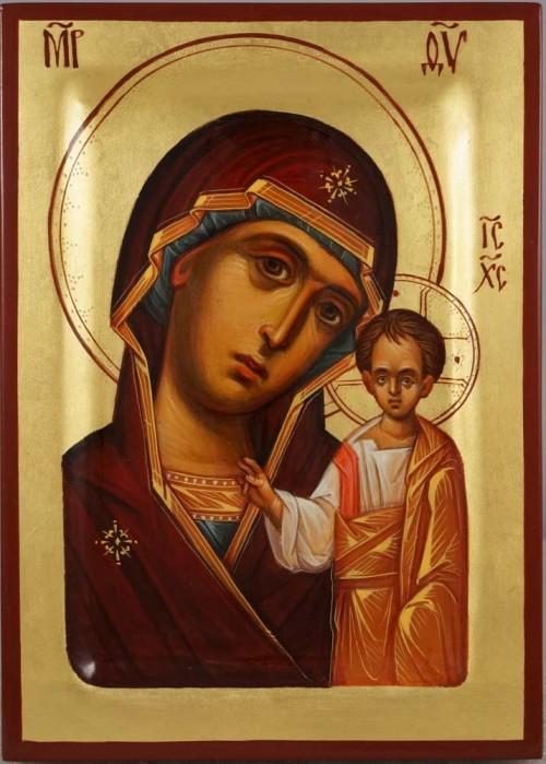 Theotokos of Kazan Hand Painted Byzantine Orthodox Icon on Wood