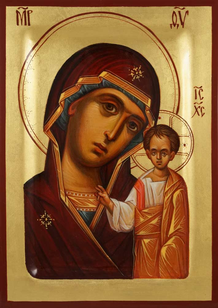Theotokos of Kazan Kazanskaya Hand Painted Byzantine Orthodox Icon on Wood