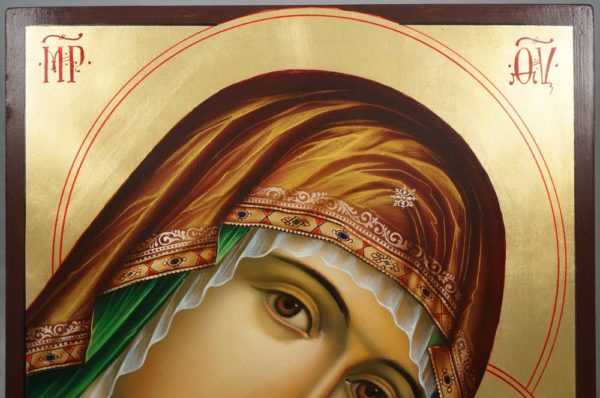 Theotokos Sweet Kissing Hand Painted Byzantine Icon Tenderness