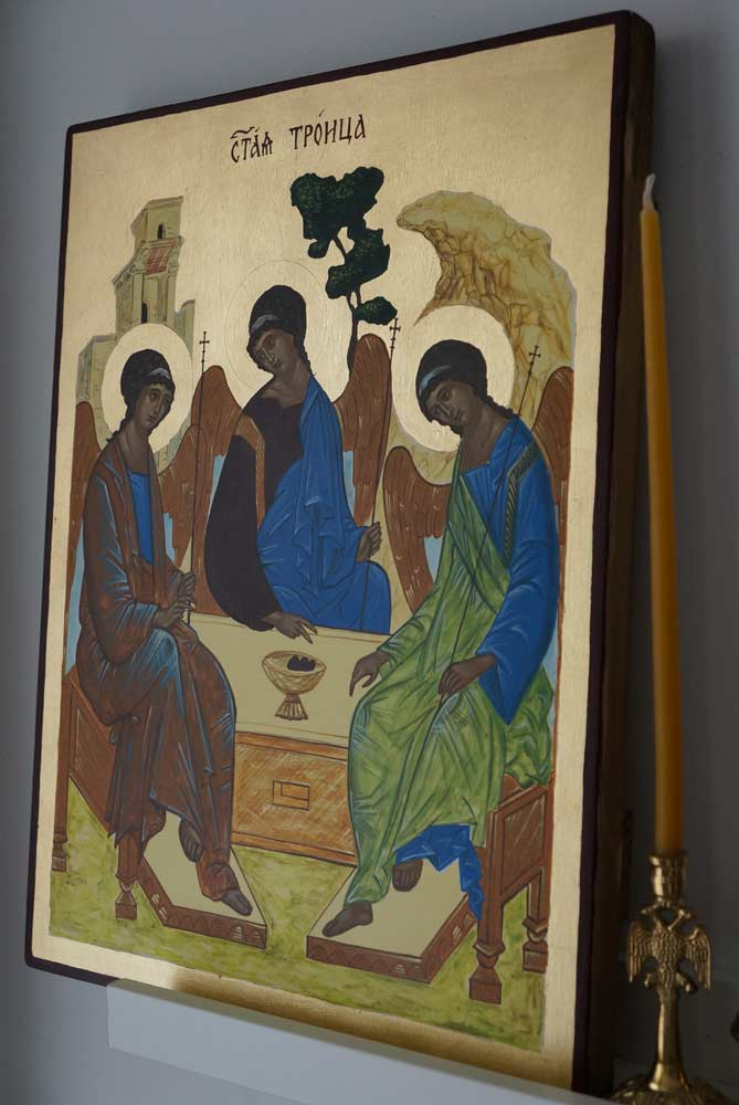 Hospitality of Abraham Rublev Trinity Hand Painted Byzantine Orthodox Icon