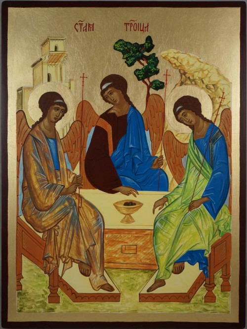 Hospitality of Abraham Rublev Trinity Hand Painted Byzantine Orthodox Icon Large