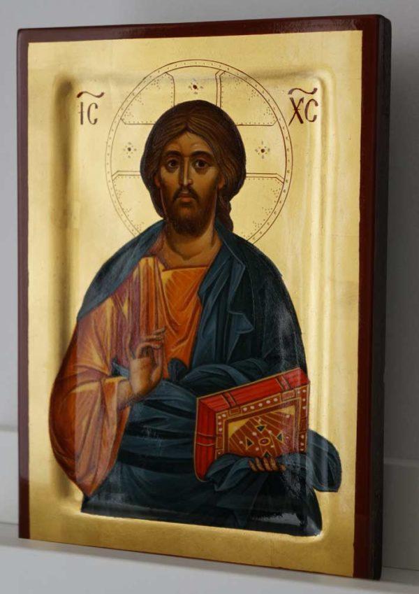 Jesus Christ Pantocrator Hand Painted Byzantine Icon Raised Border