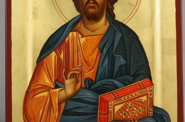 Jesus Christ Pantocrator Hand Painted Byzantine Icon Raised Border