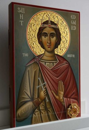 King Edward the Martyr Hand Painted Orthodox Icon with Relics Box