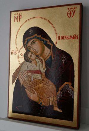 Panagia Glykophilousa Greek Hand Painted Orthodox Icon on Wood